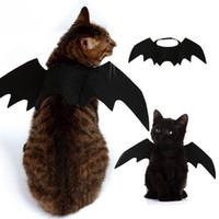 черные костюмы летучих мышей оптовых- New 2019 Halloween Pet Dog Costumes Bat Wings Vampire Black Cute Fancy Dress Up Halloween Pet Dog Cat Costume Hot Sale