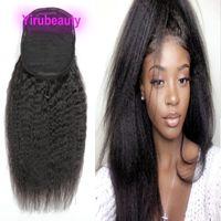 Pontails Brazilian Virgin Hair Kinky Straight 100g Malaysian Indian Peruvian 100% Human Hair Extensions Kinky Straight Ponytails 8-22inch