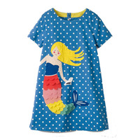 Wholesale princess online - Flamingo Embroidered Princess Dress Designer Kids Summer Dress Unicorn Animals Appliqued Baby Clothing Tunic Girl Clothes