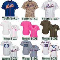 jerseygaard mayo toptan satış-Kadın gençlik Mets Jacob deGrom Darryl Çilek Nuh Syndergaard Dwight Gooden 2019 Flex Taban ve serin baz Takım Jersey boyut S-5XL