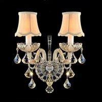 ingrosso candele di lusso-Lampade da parete moderne in cristallo Soggiorno accanto al comodino Applique da parete in cristallo di lusso E14 con cristallo di candela