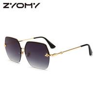 пчелиные очки оптовых-Women Sunglasses Brand Designer Square Metal Eyewear Honey Bee AccessoriesGradient Colors Lenses Driving Goggles UV400