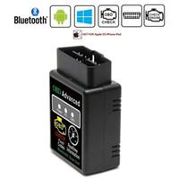 adaptador obd obd2 al por mayor-Bluetooth HH OBD ELM327 V2.1 Avanzado MOBDII OBD2 EL327 BUS Verificar motor Coche Auto Diagnóstico Escáner Lector de código Herramienta de escaneo Adaptador de interfaz Adaptador