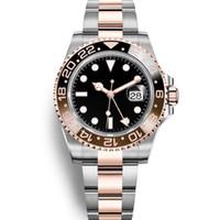 смотреть черный синий оптовых-2019 Новые спортивные модные часы Mens GMT Часы автоматические юбилейные мужские часы Orologio di Lusso Orologi da Uomo Blue Black мужские наручные часы