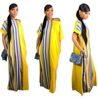 vestido estilo marca senhora venda por atacado-3 cores nova moda 100% algodão impressão elástico estilo sem mangas dashiki famosa marca stripe vestidos longos para senhora PARA FESTA