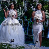 Wholesale plus sized ball gowns for sale - Group buy 2020 African Luxury two pieces Ball Gown Wedding Dresses with detachable train sheer lace d flower applique split mermaid Bridal Gowns