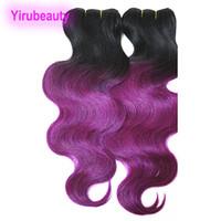 1b couleur rouge des cheveux achat en gros de-4 Bundles malaisiens vague de corps de cheveux humains tisse Ombre extensions de cheveux 1B Blonde vert violet rouge deux tons malaisiens produits pour les cheveux 10-18 pouces