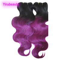 Wholesale two toned purple hair weave resale online - 4 Bundles Malaysian Human Hair Body Wave Weaves Ombre Hair Extensions B Blonde Green Purple Red Two Tones Malaysian Hair Products inch