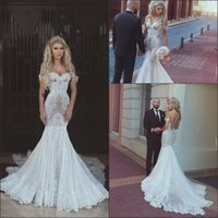 Wholesale luxury mermaid corset wedding dress resale online - 2020 New Luxury Cheap Arabic Mermaid Wedding Dresses Off Shoulder Full Lace Appliques Sweep Train Corset Back Plus Size Formal Bridal Gowns
