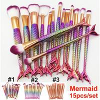Wholesale beauty mermaid resale online - 15pcs Mermaid Makeup Brushes Set Foundation Eyeshadow Powder Brush Eyebrow Eyeliner Blush Blending Contour Cosmetic Brush Beauty Tools