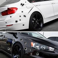 kurşun geçirmez çıkartmalar toptan satış-3D Bullet Delik Araba Çıkartmaları Komik Çıkartması Scratch Gerçekçi Bullet Delik Su Geçirmez Çıkartmalar Araba Dış Styling HHA116