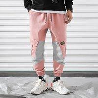 pantalon harem rosa al por mayor-2019 New Cargo Harem Pink Pants Mens Casual Joggers Pantalones holgados Harajuku Streetwear Hip Hop Pantalones Hombres Pantalones de chándal de moda