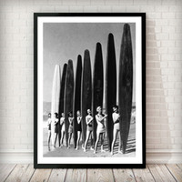 Wholesale surf paintings for sale - Group buy Models with Surf boards Posters and Prints Vintage Black White Photography Canvas Painting Nordic Wall Pictures for Living Room