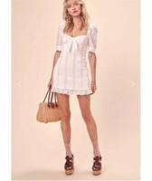 reißverschlussblase kleid großhandel-High End Custom 2019 Sommer Sweet Breast Wrap Blase Sleeve Trim kleines Kleid Frauen Square Kragen Reißverschlüsse A-Line Kleid Frauen