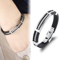 Wholesale cool men bracelet for sale - Group buy Fashion men bracelet stainless steel wire silicone bracelets cool man casual cuff bracelet trend male jewelry retro accessories