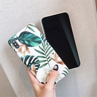 flores da arte do iphone venda por atacado-Art flores folha phone case para iphone xs max case para iphone x xr 6 s 7 8 mais casos de telefone macio IMD