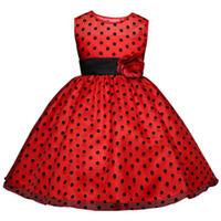 kızlar elbise noktaları siyah toptan satış-2019 Prenses Yaz Çiçek Kız Elbise Klasik Beyaz Siyah Polka Dots Çocuk Dans Elbiseler Kızlar Için vestido infantil 4-10Y