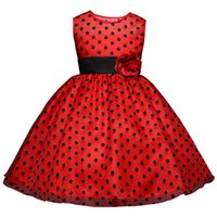 ingrosso vestito nero dalla ragazza con puntini bianchi-2019 Princess Summer Flower Girl Dress Classico Bianco Nero Polka Dots Bambini che ballano Abiti per ragazze vestido infantil 4-10Y