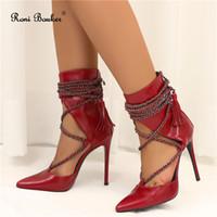botas de salto alto vermelho venda por atacado-Mulheres Cadeia Design Dedo Apontado Sapatos de Salto Alto Das Senhoras Moda Red Black Ankle Booties com Zíper Frete Grátis