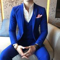hombres de traje azul real oscuro al por mayor-Plyesxale 3 piezas traje azul real de los hombres Negro 2019 juegos oscuros de boda rojo gris blanco para los hombres ajuste delgado masculino Prom Cena Trajes Q873