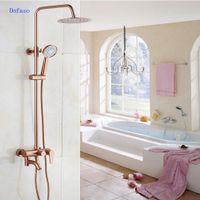 luxus gold messing wasserhähne großhandel-Dofaso Luxus Rose Gold Kupfer Dusche Wasserhahn Badezimmer Antik Dusche Set 8