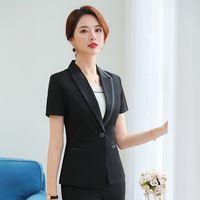 4cc20f2a61d0 Summer Fashion Women Blazer Office Lady Elegant Short Sleeve Suit Set  Patchwork Work Wear Female Formal Uniform (Jacket + Skirt)