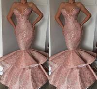 sereia querida vestido de baile querida venda por atacado-2019 Nova Cama Ruffle Rosa Sereia Vestidos de Baile Querida Frisada Lantejoulas Longo Partido Ocasião Vestidos de Baile Vestidos de Noite Longo BC1314