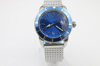 lüks adamlar yılbaşı saatleri toptan satış-Luxury Superocean 44mm blue face Pin buckle Free shipping Men's watch casual Sapphire original buckle Classic Style Christmas gift