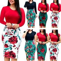 Wholesale plus size womens summer clothing online - Womens Long Short Sleeve Floral Print Floral Boho Party Bodycon Maxi Dress Clothing Plus Size colors LJJS135