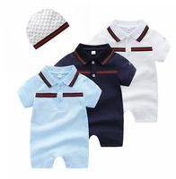 18 monate koreanisches baby großhandel-Wilde Baby-Strampler Sommer dünne kurzärmelige Baumwoll Revers Neugeborene Kleidung 0-3 Monate Fuß Vollmondanzug