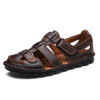 yaz ayakkabıları sipariş et toptan satış-Marka Erkek Yaz Nefes Sandalet Hakiki Deri Plaj Ayakkabıları Rahat kaymaz Terlik Yüksek Kaliteli Loafer'lar 5 siparişleri