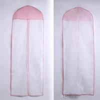 bolsas de ropa rosa al por mayor-Accesorios de la bolsa para el polvo con borde rosado para la boda Bolsa de algodón Bolsa a prueba de polvo Cubierta de la ropa Baile de noche Vestidos del desfile Bolsas para la cubierta de polvo ZAHY