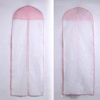 sacolas de vestuário rosa venda por atacado-Casamento Rosa Borda Saco de Poeira Acessórios Saco de Algodão saco À Prova de Poeira Capa de Garment Prom Noite Pageant Vestidos de Poeira cobrir sacos ZAHY