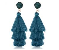 küpeler eski stil toptan satış-Avrupa ve Amerikan Moda Küpe Yeni Etnik Stil Antik Küpeler Geri Küme Bohemian katmanlı saçaklı Küpe
