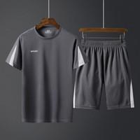 yüksek kaliteli erkekler spor gömlekleri toptan satış-Erkek Gevşek Rahat Spor Takım Elbise Yüksek Kaliteli Nefes Konfor t gömlek Ve Şort Spor Koşu Basketbol Çeşitli Açık Spor Suits