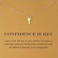 şirin altın kolye toptan satış-Kart ile! Gümüş ve altın renk sevimli Dogeared Kolye ile anahtar (güven anahtardır) Anahtar Kolye Kolye İlham Kolye