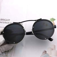 Wholesale model woman glasses for sale - Round Frame Punk Sunglasses Men And Women Spectacles Couple Models Polarized Light Eyeglass Resistance To Fall Black am C1