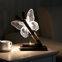 Wholesale modern abstract decor resale online - Cute Butterfly Led Night Light Home Room Desk Decor d Usb Charging Night Lights Us Plug Modern Abstract Light Decor