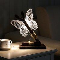 kelebek fişler toptan satış-Sevimli Kelebek 9 Led Gece Işık Ev Oda Danışma Dekor Night Lights Bize Tak Modern Soyut Işık Dekor Şarj USB 3D