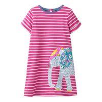 mode-design baby kleidung großhandel-Boutique Baby Mädchen Kleidung Baumwolle Kleider Kurzarm 13 Designs Elefant Einhorn Streifen Tiere Applique Mode Kleidung