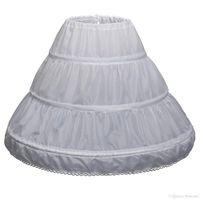 çiçek kız elbise çemberleri toptan satış-Çocuklar 3 Hoops Petticoats Düğün Gelin Aksesuarları Yarım Kayma Küçük Kızlar Kabarık etek Beyaz Uzun Çiçek Kız Resmi elbise Jüpon