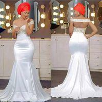 boncuklu denizaltı tarzı balo elbisesi toptan satış-Kapalı Omuz beyaz altın Mermaid Gelinlik Modelleri Boncuklu Backless Saten Backless Aso Ebi Afrika Gelinlik Modelleri Nijeryalı tarzı Abiye