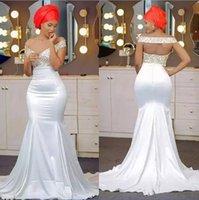 vestido de fiesta con cuentas blanco al por mayor-Off The Shoulder Vestidos de fiesta de sirena de oro blanco Con cuentas Sin espalda Satén Sin respaldo Aso Ebi Vestidos de fiesta africanos Vestidos de noche de estilo nigeriano