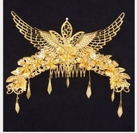 Wholesale phoenix hair jewelry resale online - Phoenix Crown Marriage Headdress Hair Hoop Ancient Chinese Dress Hairpin Jewelry