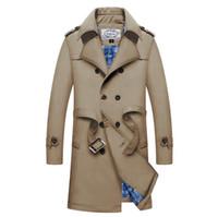 trinchera larga de invierno para hombres al por mayor-Hombres Gabardinas largas Otoño Invierno Negocios Fajas de doble botonadura Abrigos de diseñador Ropa de abrigo
