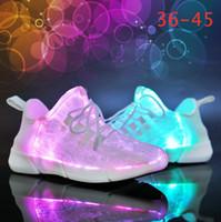 Wholesale fiber optic light up resale online - Luminous Optic Fiber Shoes Unisex Luminous Glowing Sneakers Fashion LED Shoes EUR USB Rechargeable Sneakers With Box