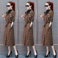 ingrosso donna di trincea lunga-New Women Trench Coat Slim Women F-lettere Giacche e cappotti lunghi Cappotto trench doppiopetto Donna Capispalla invernale antivento H205