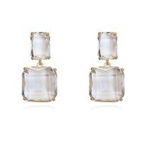 ingrosso gioielli dell'ago dell'oro-Minimalista carino orecchini di cristallo quadrati per le donne oro argento ago temperamento coreano gioielli moda earard