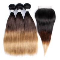 üç tonlu saç paketleri toptan satış-1B 4 27 Ombre İnsan Saç Paketler Kapatma Üç Ton Hint Düz Saç 3 Demetleri Ile 4x4 Dantel Kapatma Remy saç Uzantıları