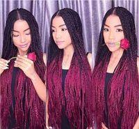 trenzas de dos tonos al por mayor-Largo de dos tonos de color sintética del frente del cordón trenzas pelucas para las mujeres Ombre Red de fibra de alta temperatura sintética Trenzado pelucas
